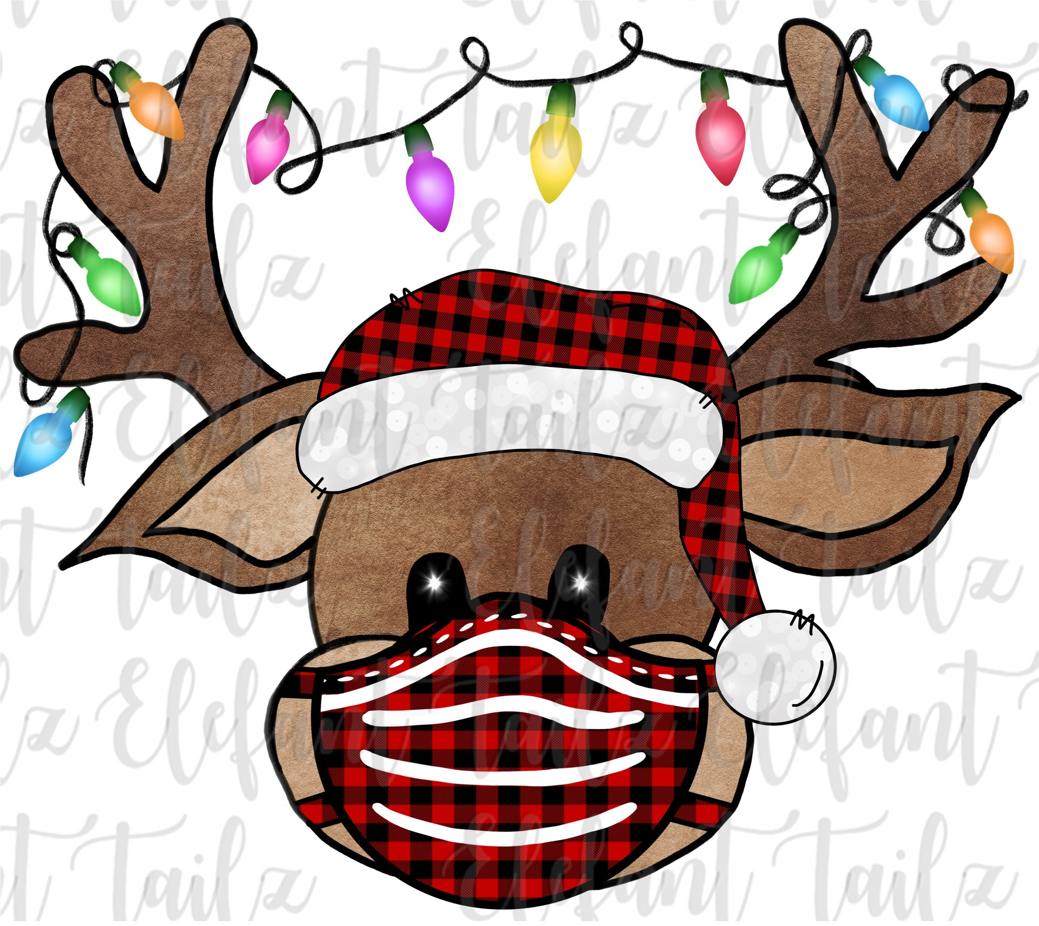 Reindeer Buffalo Plaid Hat With Mask