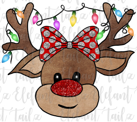 Reindeer with Hair Bow #1