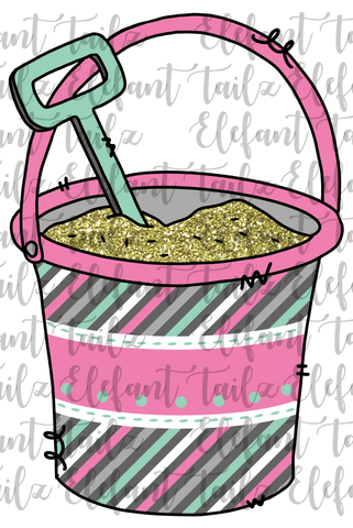 Sand Bucket Teal & Pink
