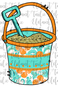 Sand Bucket Teal Preppy Pattern