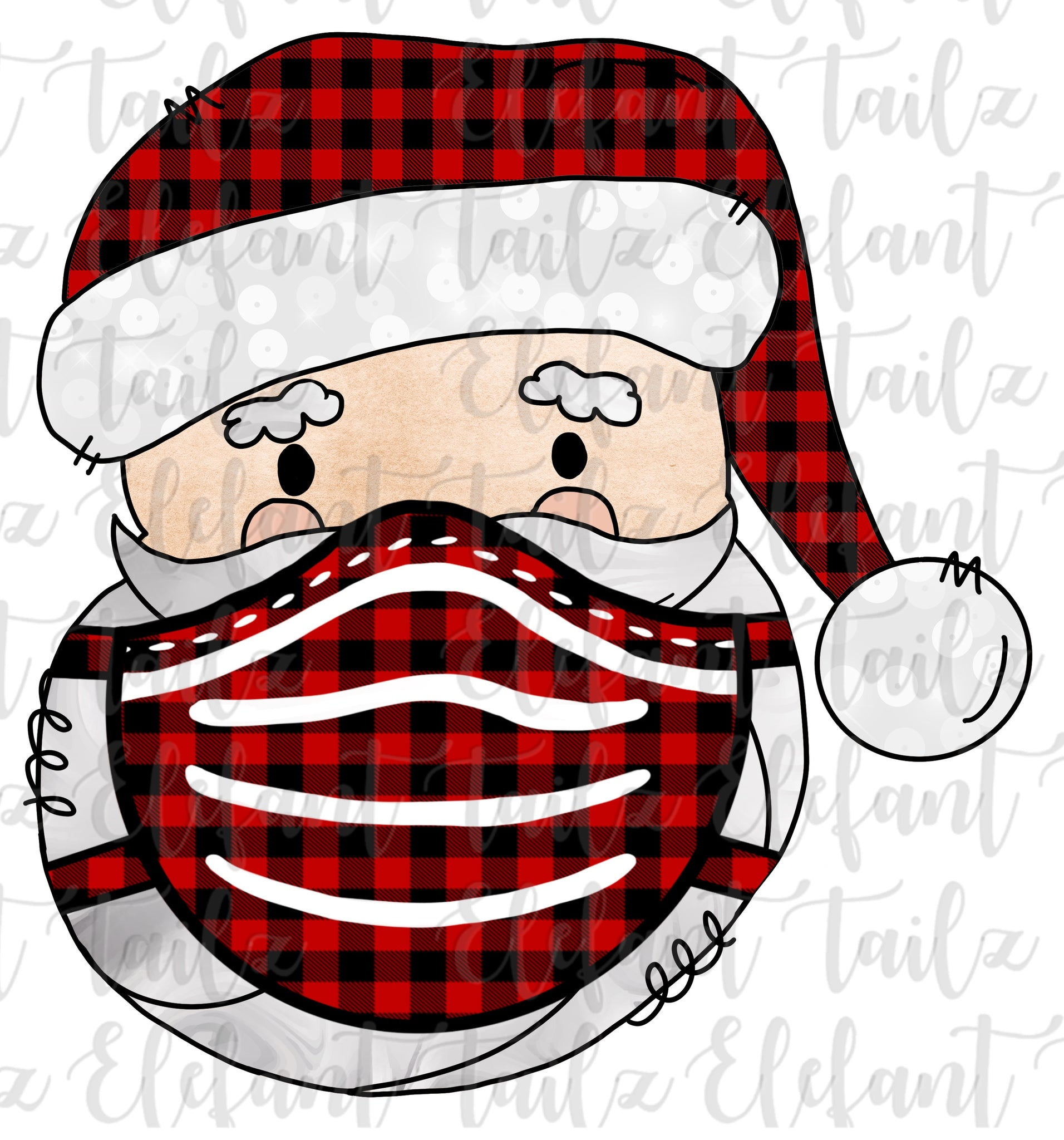 Santa Head Buffalo Plaid With Mask