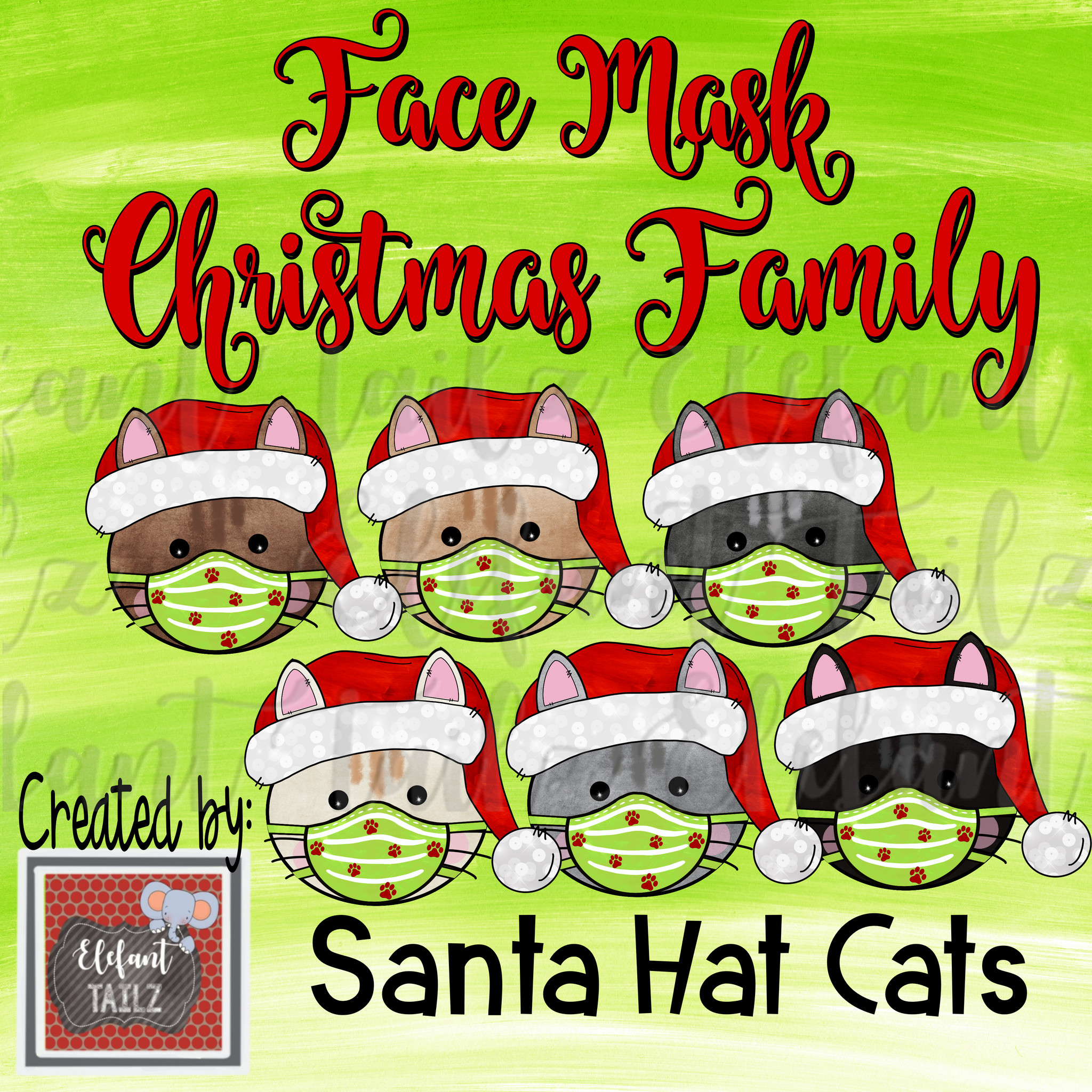 Face Mask Christmas Family - Cats