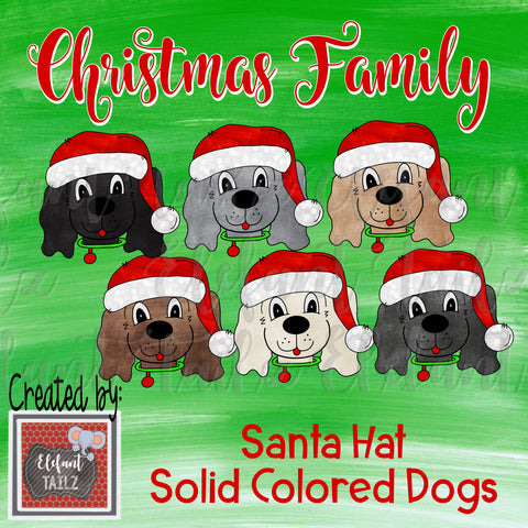 Christmas Family - Santa Hat Solid Color Dogs