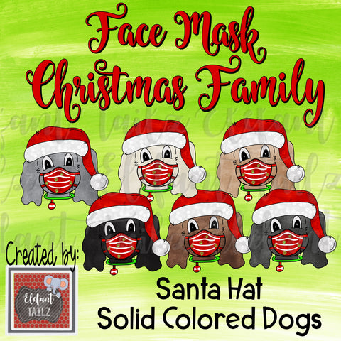 Face Mask Christmas Family - Solid Color Dogs