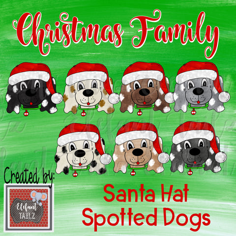 Christmas Family - Santa Hat Spotted Dogs