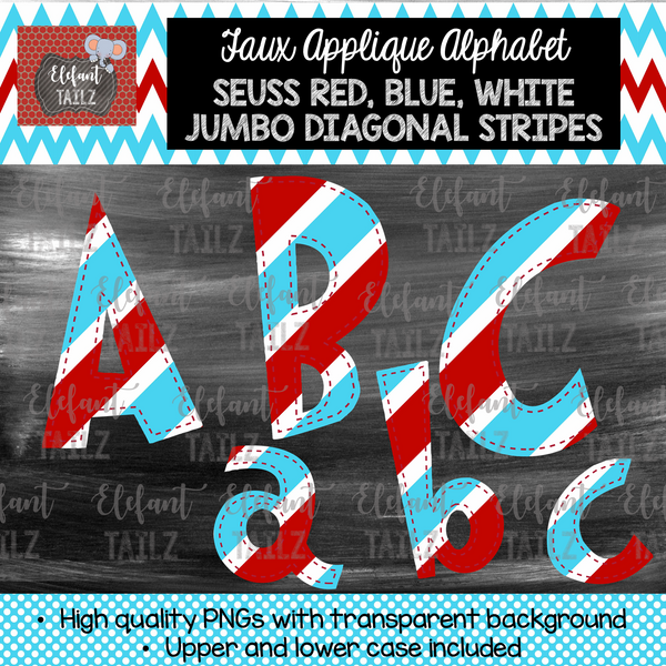 Red Blue White Jumbo Diagonal Stripes Alpha Pack