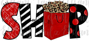 Shop with Bag - Red & Black