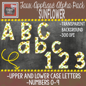 Alpha & Number Pack - Faux Applique - Sunflower