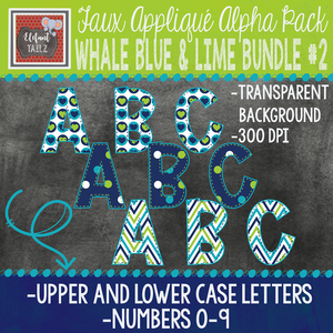Alpha & Number Pack - Whale Blue & Lime BUNDLE #2