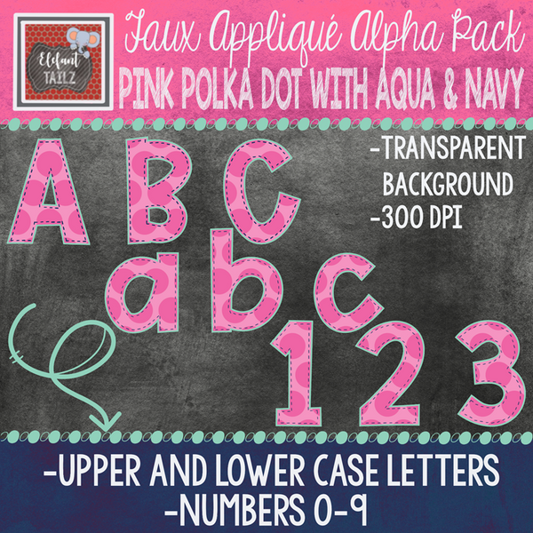 Alpha & Number Pack - Faux Applique - Pink Polka Dot with Aqua & Navy