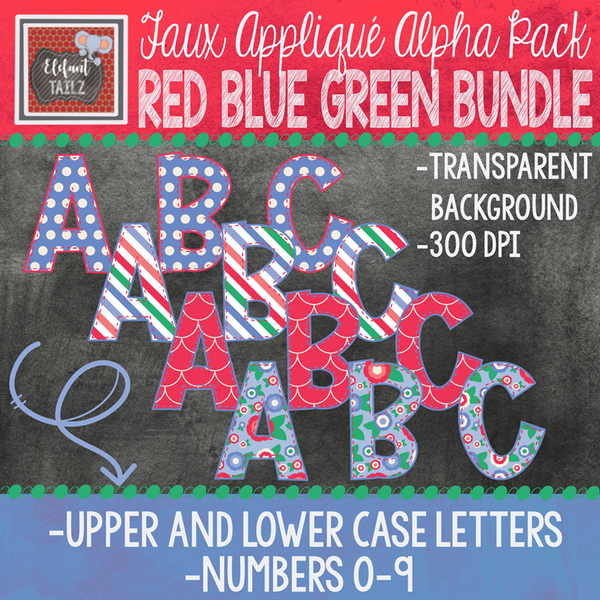 Alpha & Number Pack - Red Blue Green BUNDLE