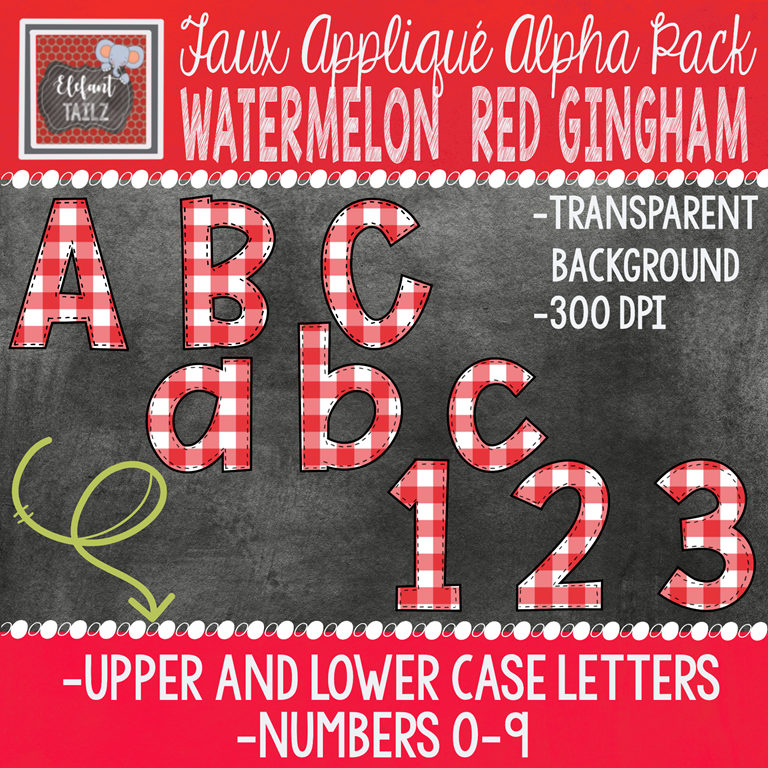Alpha & Number Pack - Faux Applique - Watermelon Red Gingham