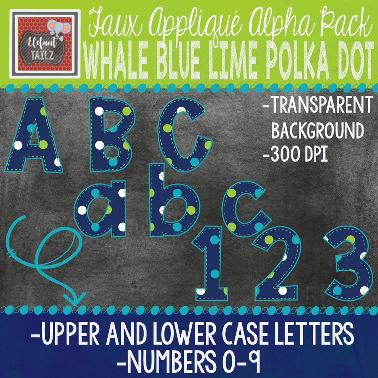 Alpha & Number Pack - Faux Applique - Whale Blue Lime Polka Dot