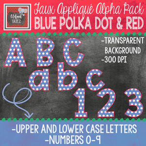 Alpha & Number Pack - Faux Applique - Blue Polka Dot with Red