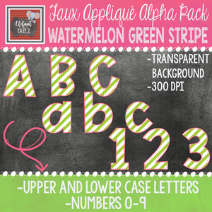 Alpha & Number Pack - Faux Applique - Watermelon Green Stripe