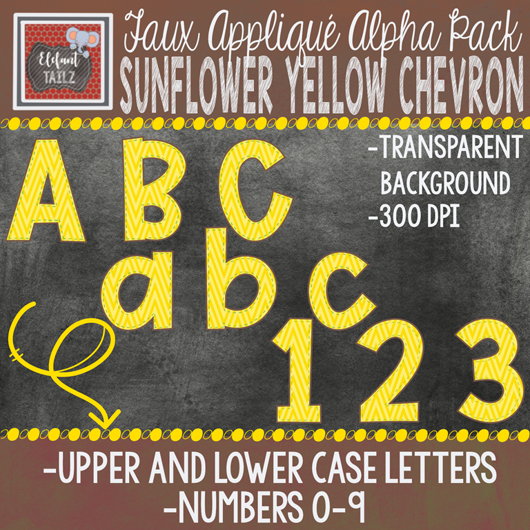 Alpha & Number Pack - Faux Applique - Sunflower Yellow Chevron