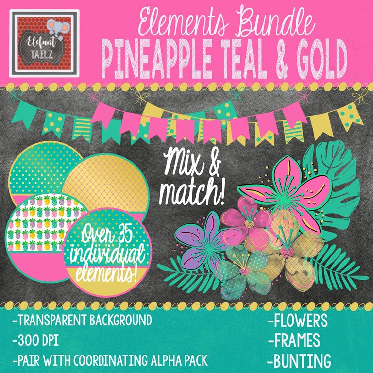 Pineapple Teal & Gold Elements BUNDLE