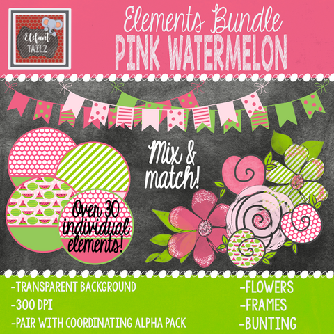 Pink Watermelon Elements BUNDLE