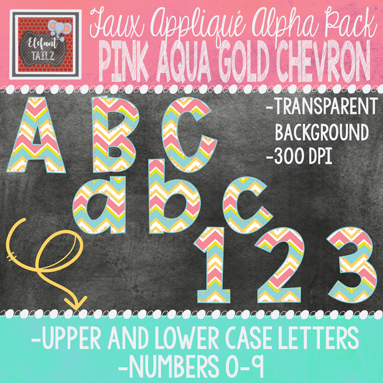 Alpha & Number Pack - Faux Applique - Pink Aqua Gold Chevron