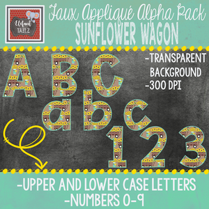 Alpha & Number Pack - Faux Applique - Sunflower Wagon