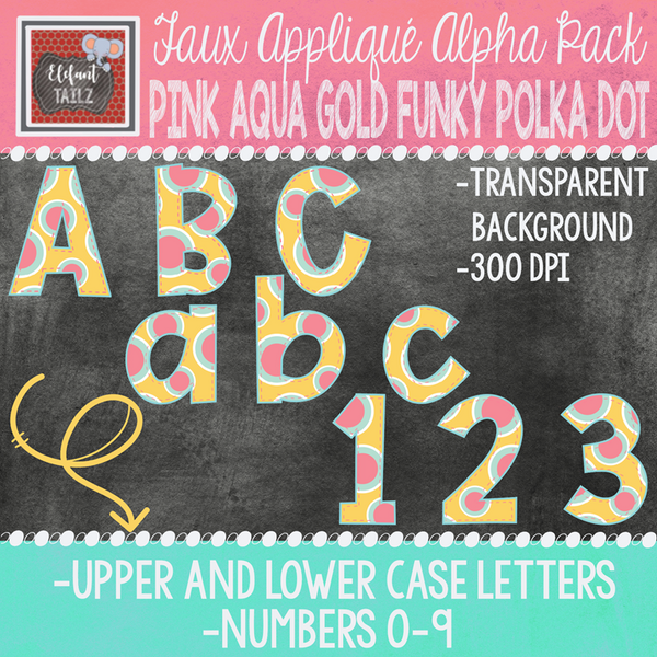 Alpha & Number Pack - Pink Aqua Yellow BUNDLE