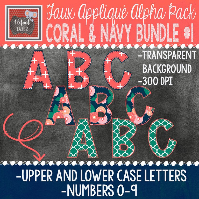 Alpha & Number Pack - Coral & Navy BUNDLE #1