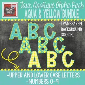 Alpha & Number Pack - Aqua & Yellow BUNDLE