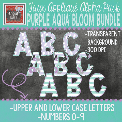 Alpha & Number Pack - Purple Aqua Bloom BUNDLE