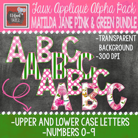 Alpha & Number Pack - Matilda Jane Pink & Green BUNDLE