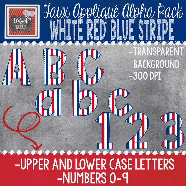 Alpha & Number Pack - Faux Applique - White Red Blue Stripe