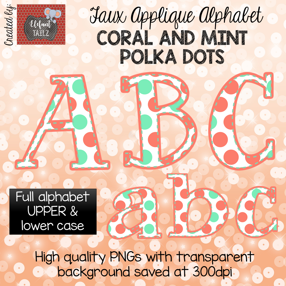 Alpha Pack - Faux Applique - Coral & Mint Polka Dot