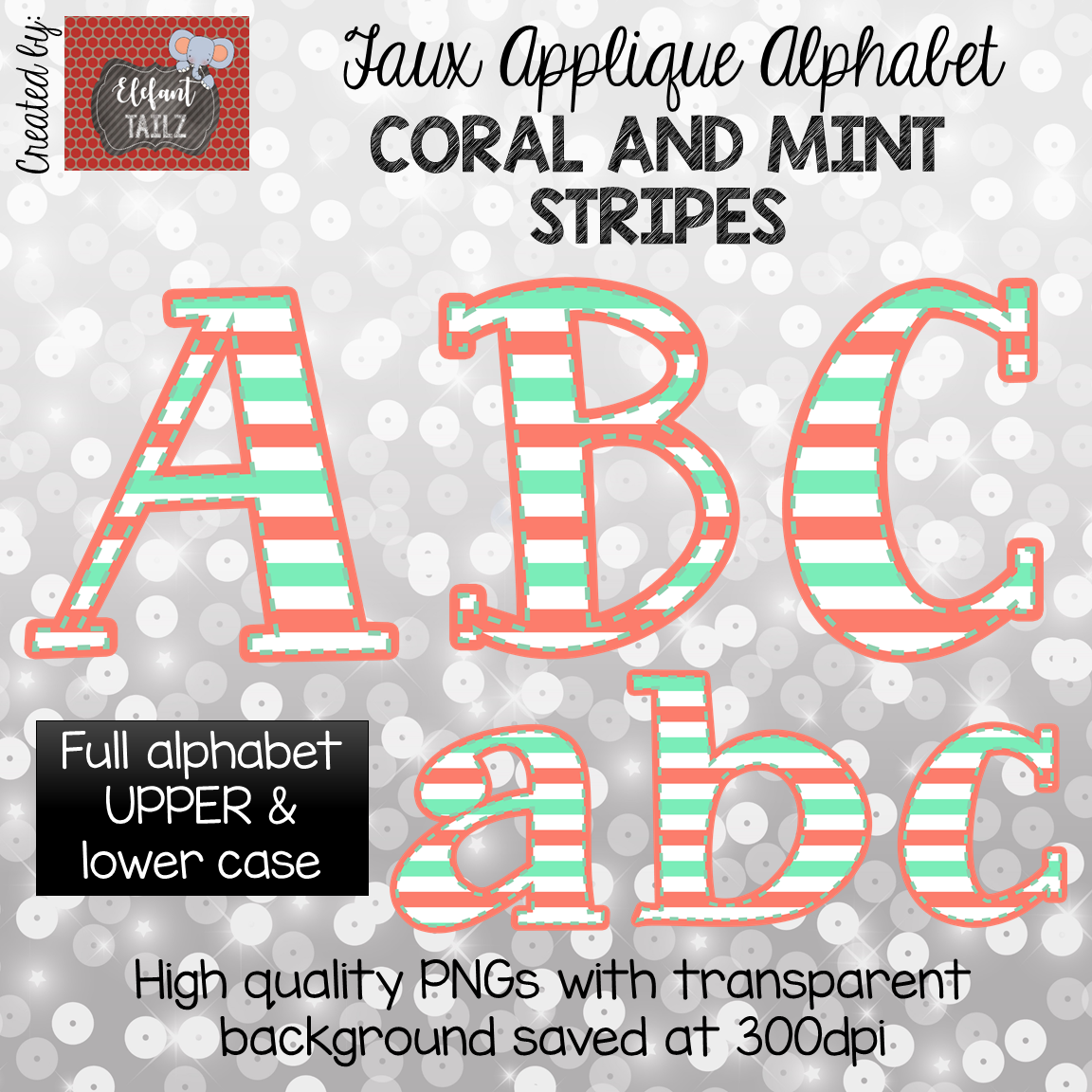 Alpha Pack - Faux Applique - Coral & Mint Stripes