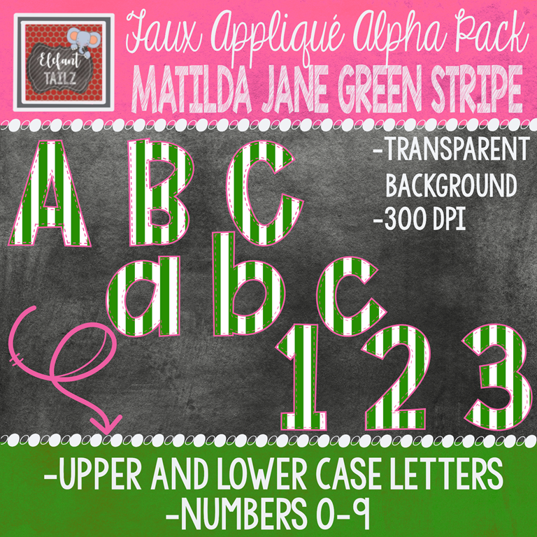 Alpha & Number Pack - Faux Applique - Matilda Jane Green Stripe