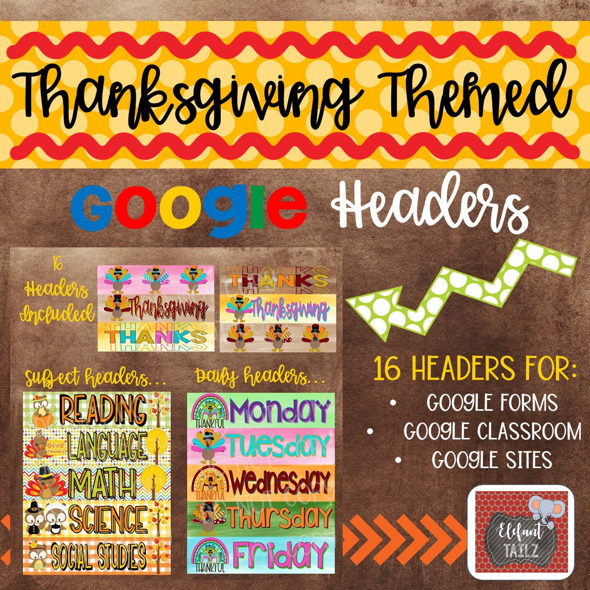 Thanksgiving Themed Google Classroom & Google Forms Headers