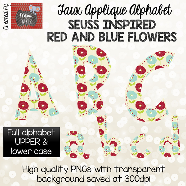 Red and Blue Floral Alpha Pack