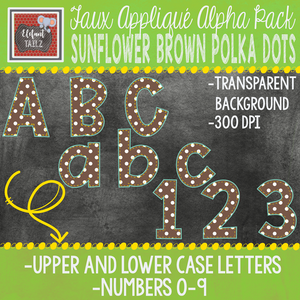 Alpha & Number Pack - Faux Applique - Sunflower Brown Polka Dots