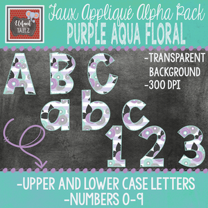 Alpha & Number Pack - Faux Applique - Purple Aqua Floral