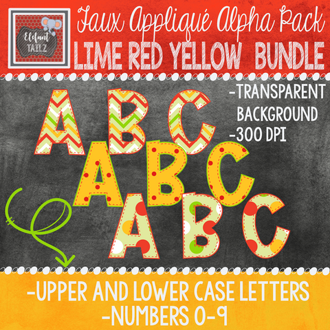 Alpha & Number Pack - Faux Applique - Lime Red Yellow Bundle