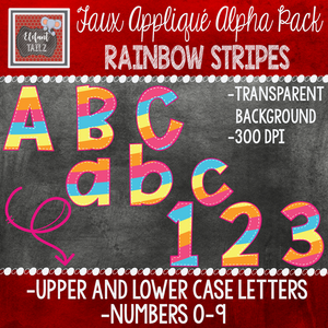 Alpha & Number Pack - Faux Applique - Rainbow Stripes
