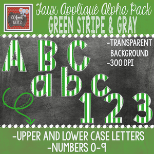 Alpha & Number Pack - Faux Applique - Green Stripe & Gray
