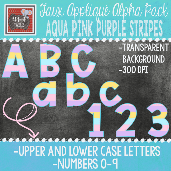 Alpha & Number Pack - Faux Applique - Aqua Pink Purple Stripes