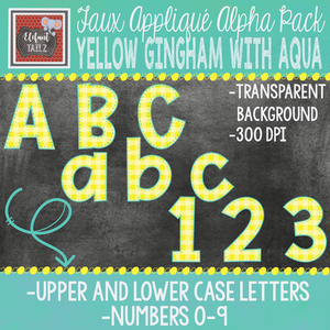 Alpha & Number Pack - Faux Applique - Yellow Gingham & Aqua