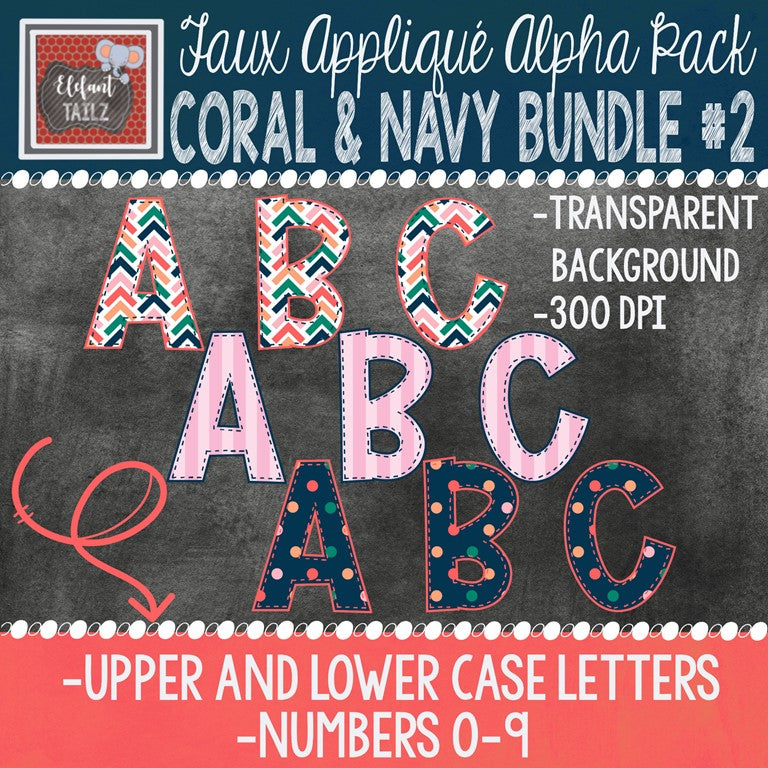 Alpha & Number Pack - Coral & Navy BUNDLE #2