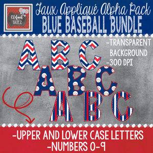 Alpha & Number Pack - Blue Baseball BUNDLE