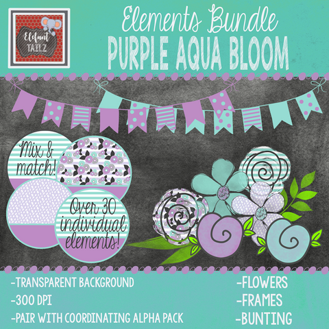 Purple Aqua Bloom Elements BUNDLE
