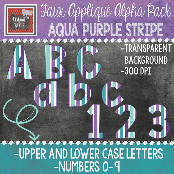 Alpha & Number Pack - Faux Applique - Purple Aqua Navy Bundle
