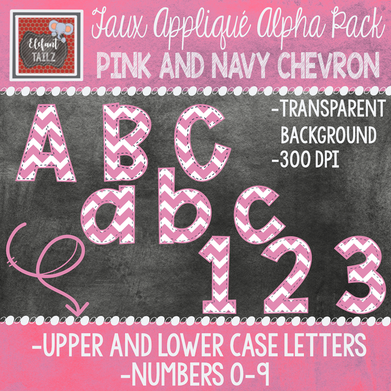 Alpha & Number Pack - Faux Applique - Pink Chevron with Navy