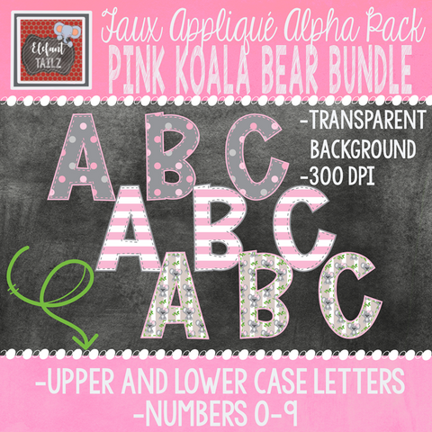 Alpha & Number Pack - Pink Koala Bear BUNDLE