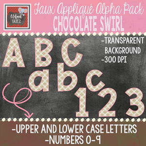 Alpha & Number Pack - Faux Applique - Chocolate Swirl