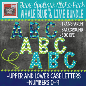Alpha & Number Pack - Whale Blue & Lime BUNDLE #1